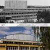 Budynek główny w czasie budowy i dziś