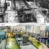 Widok na reaktor MARIA z góry w czasie budowy i dziś